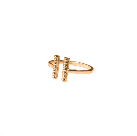 Double Beaded Bar Ring