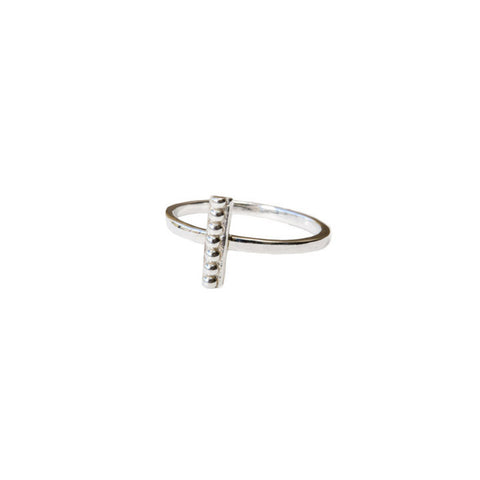 Single Beaded Bar Ring