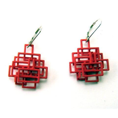 Small Open Square Dangle Earrings