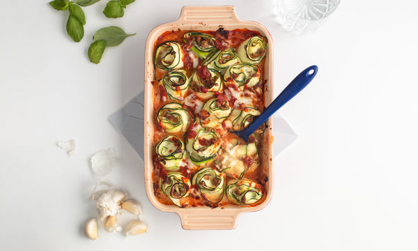 Zucchini Lasagna Rolls with Sausage and Ricotta