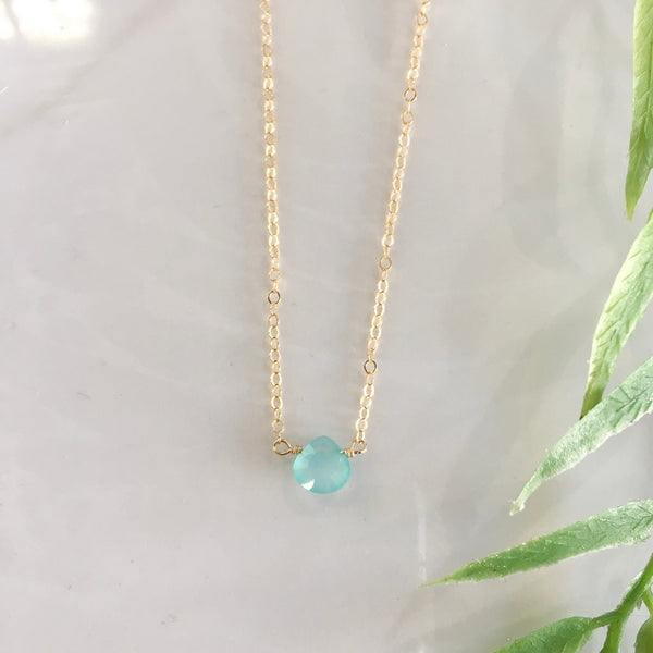 Aquamarine Single Gemstone Choker