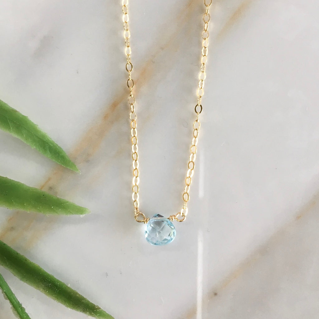 Blue Topaz Single Gemstone Choker