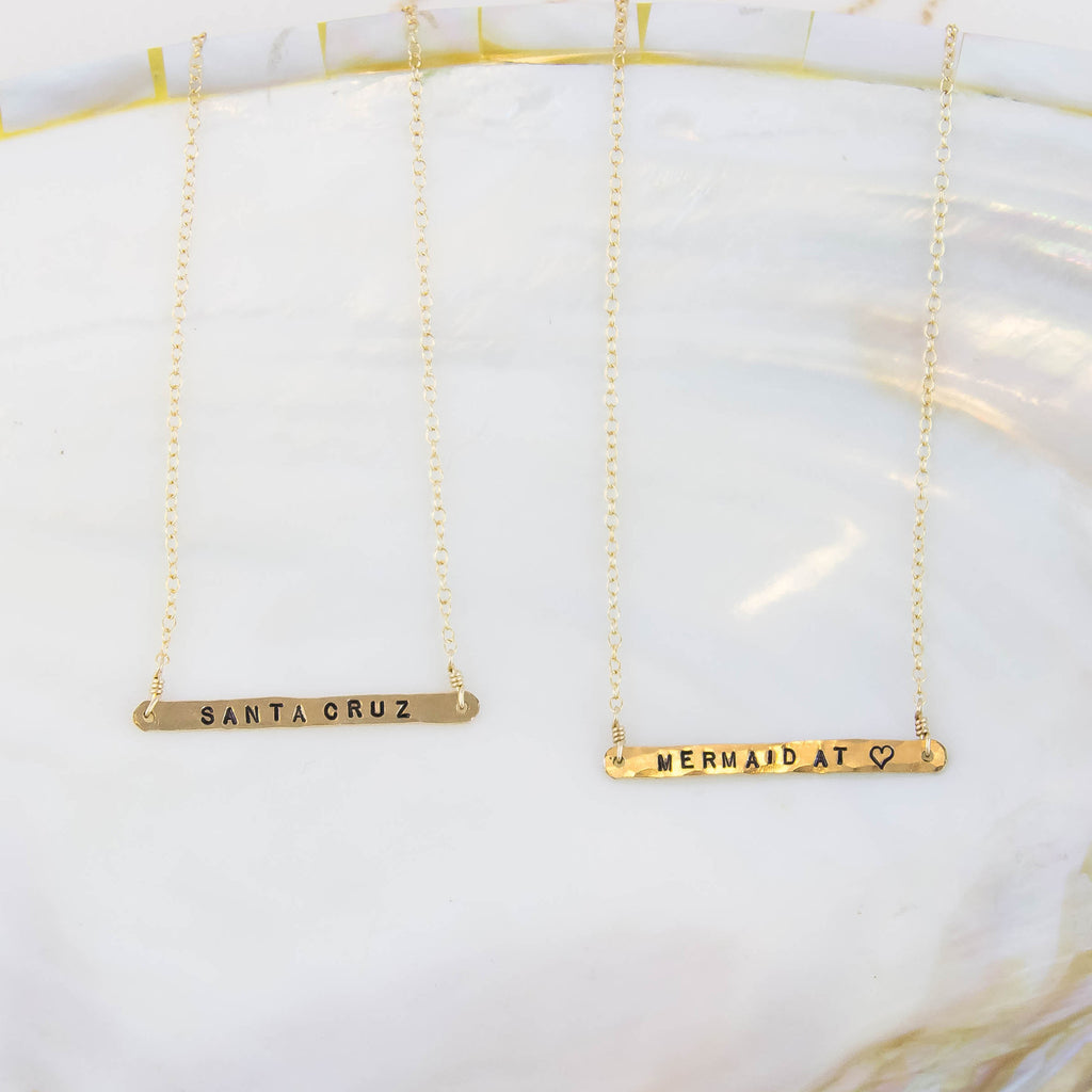 Gold Mermaid at Heart Bar Necklace