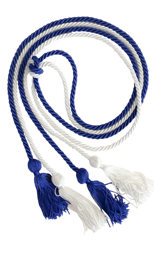 Royal Blue and White Graduation Honor Cords