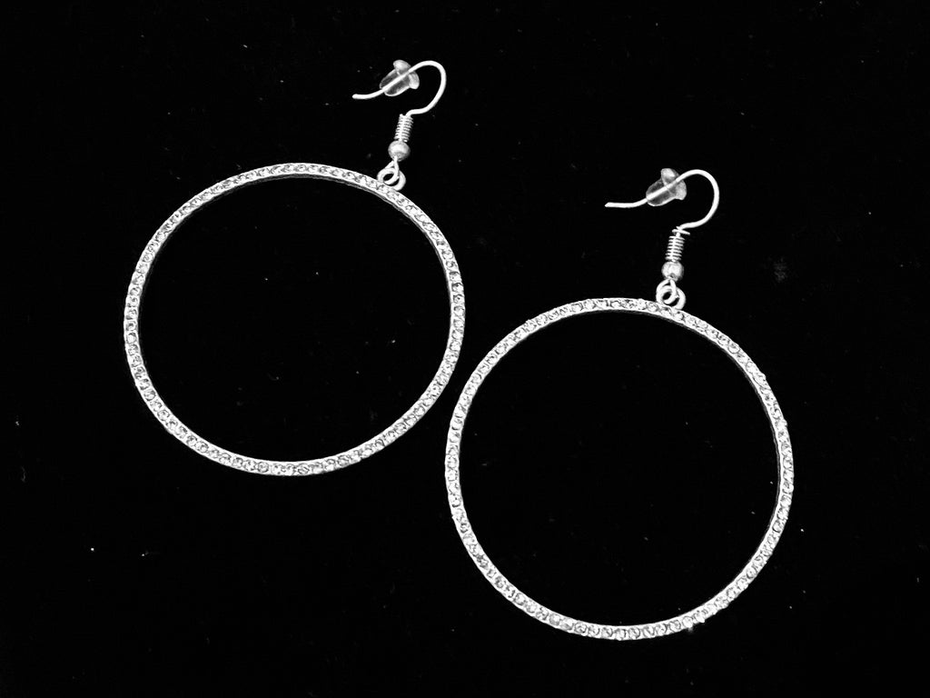"""Sparkle Plenty""  Round Dangle Hoop Earrings With Swing!  LIMITED QUANTITY"