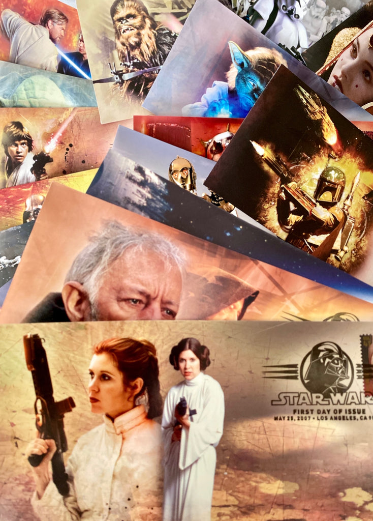 SET OF 17 STAR WARS COMMEMORATIVE  ENVELOPES WITH CHARACTER STAMPS FROM 2007