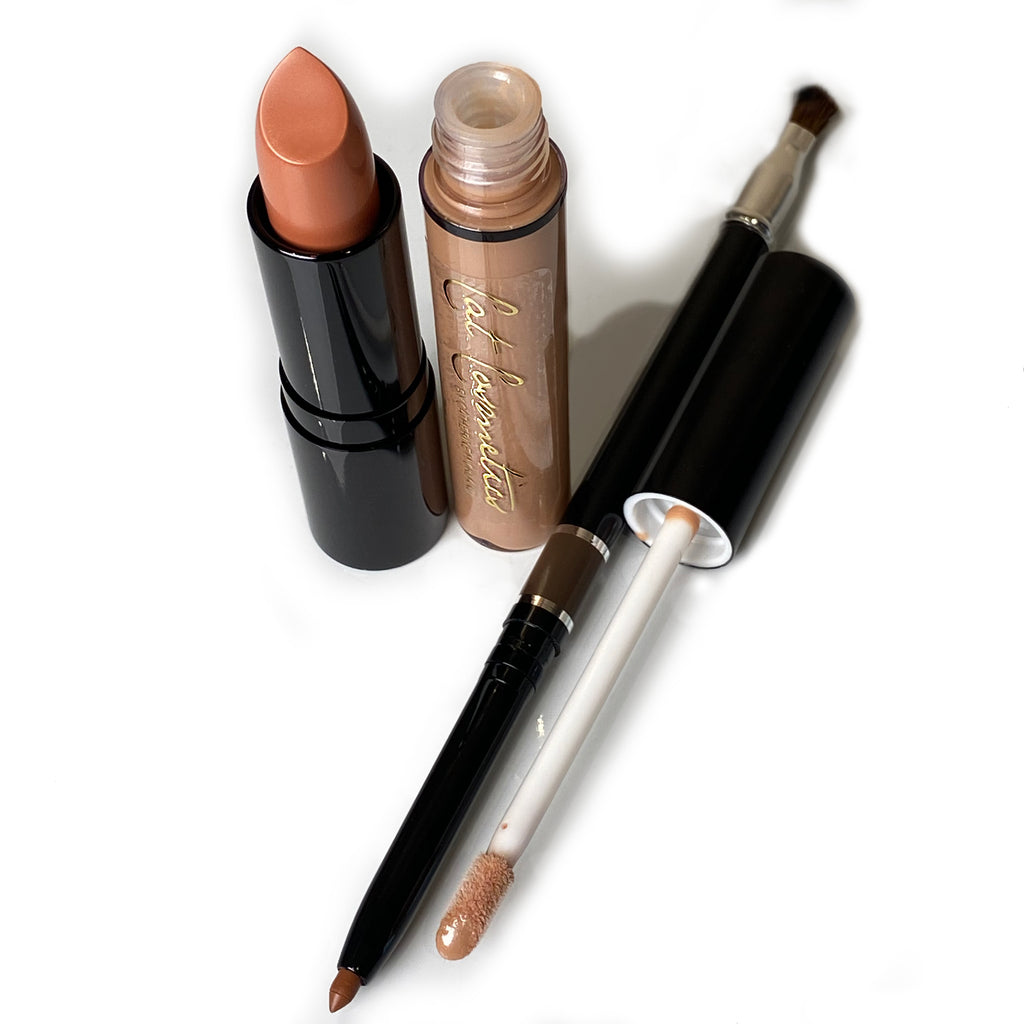 'Perfect Nude' Lipstick Lip Gloss and Lip Pencil Trio