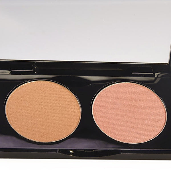 Catnip Bronzer and Whiskers Blush Duo Slim Compact With Bronzing Brush (Refillable)