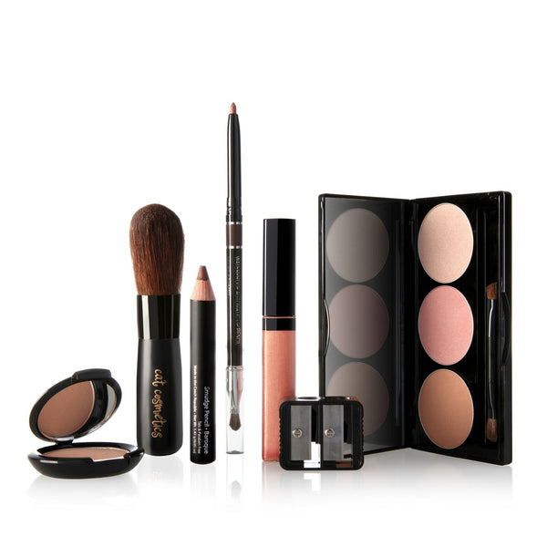 Bronze, Sculpt, and Hi-Lighter Kit for Lips Eyes & Cheeks With Pink Lip Stain