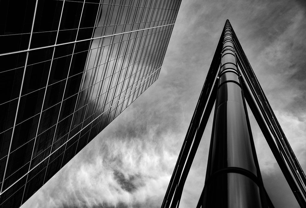 Black and White Building Looking Up | Tyler Thomason Photography