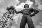 Golden Driller Statue Tulsa, OK black and white photograph