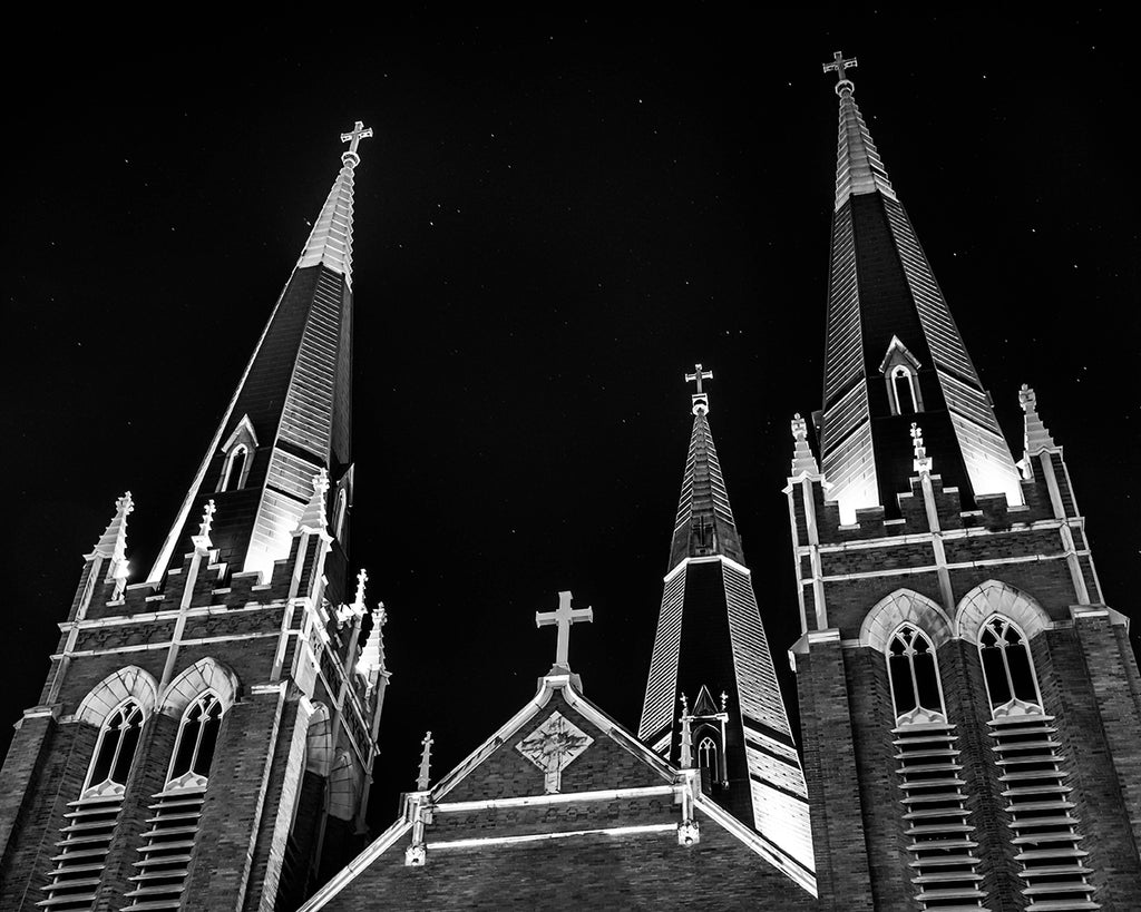 Tulsa's Holy Family Cathedral at Night | Tyler Thomason Photography