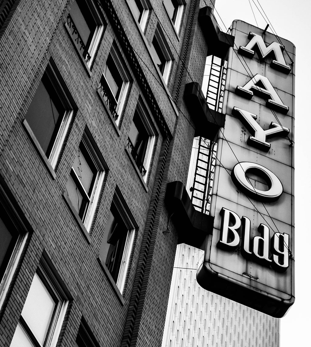 Mayo Building Tulsa, OK black and white photograph