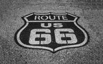 Route 66 Sign, Route 66 symbol black and white photograph