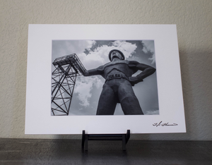 Tulsa Golden Driller Black & White Matted Print