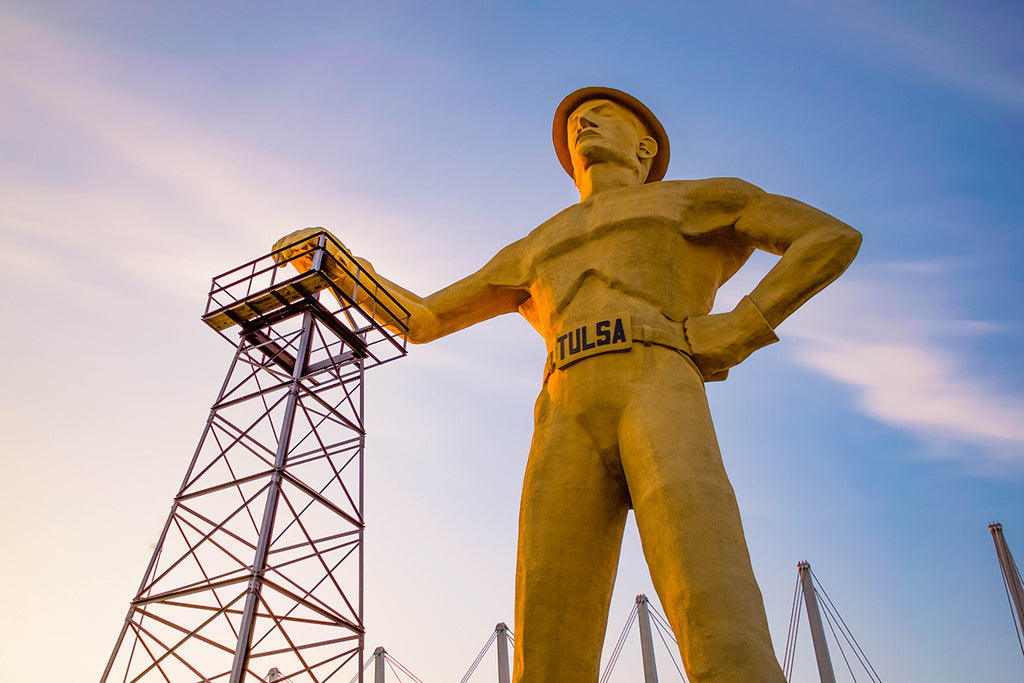 Golden Driller statue in Tulsa, OK, photography print