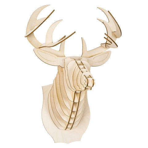 Cardboard Safari - Medium Size Birch Bucky Wood Deer Head - Cabin Fever Outfitters