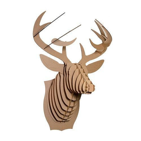 Cardboard Safari - Extra Large Size Bucky Cardboard Deer Head - Brown - Cabin Fever Outfitters
