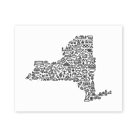 Fell - New York Map 11x14 - Cabin Fever Outfitters
