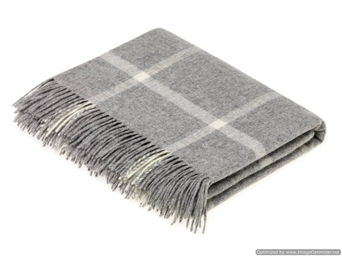 Bronte Moon - Windowpane - Merino Lambswool Throw/Blanket, Made in England