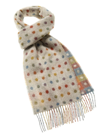 Bronte Moon - Spot Check Scarf - Beige Multi - 100% Merino Lambswool - Made in England