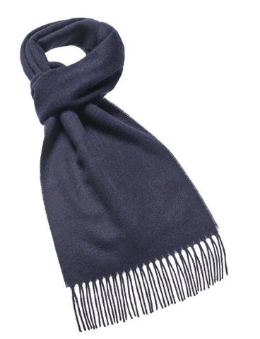 Bronte Moon - Plain Navy Luxury Scarf - 100% Merino Lambswool - Made in England