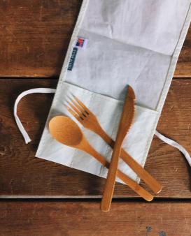 Bamboo Utensil Set with Sailcloth Roll - Cabin Fever Outfitters