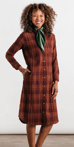 Ada Burgundy Plaid Dress - Cabin Fever Outfitters