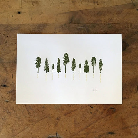"Green Bird Press - 12"" x 18"" A Few Conifers Letterpress Print"
