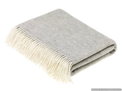 Bronte Moon - Herringbone - Merino Lambswool Throw Blanket - Made in UK