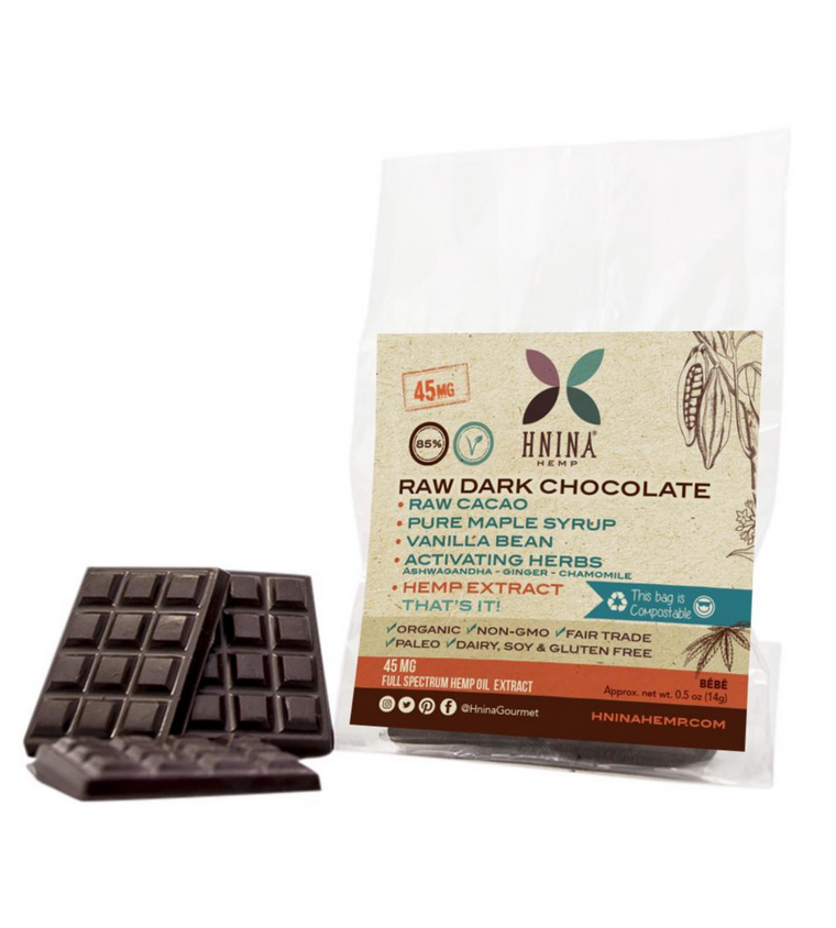 Hemp Extract Raw Dark Chocolate Bars