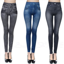 Load image into Gallery viewer, Women Fleece Lined Jegging Jeans Soft Slim Fashion Leggings 2 Real Pockets