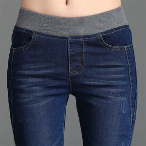 Women Casual Demin Solid Slim Jeans Pencil Leggings