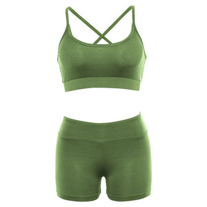 Sports Suit Women Running Gym Fitness Clothing Green And Pink Bra + Short Leggings Set Workout Clothes for Women