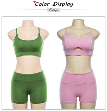 Load image into Gallery viewer, Sports Suit Women Running Gym Fitness Clothing Green And Pink Bra + Short Leggings Set Workout Clothes for Women