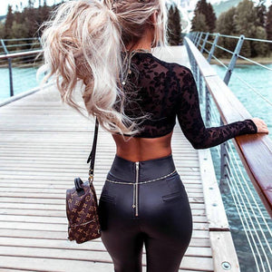 Stylish Thin Faux Black Leather Stretchy Leggins With Back Zipper