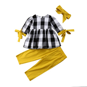 Baby Girl Plaid Top Shirt & Leggings & Headband Outfit Sets  2 Pcs