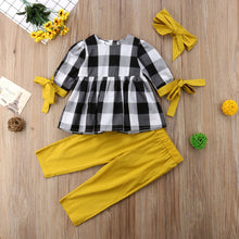 Load image into Gallery viewer, Baby Girl Plaid Top Shirt & Leggings & Headband Outfit Sets  2 Pcs