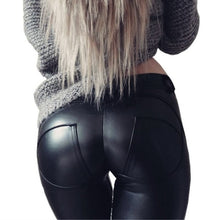 Load image into Gallery viewer, Glamour  Leather Looking Leggings Black/Silver Push Up