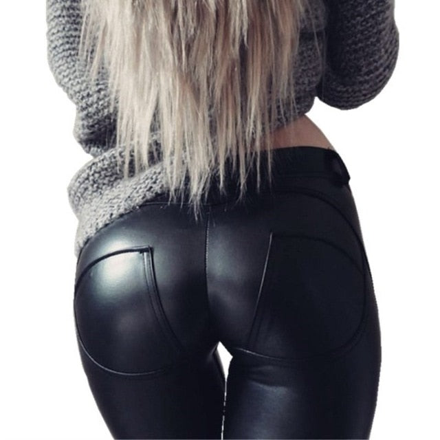 Glamour  Leather Looking Leggings Black/Silver Push Up