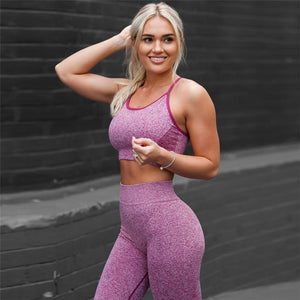 Solid Fitness 2 Piece Set High Waist Leggings & Crop Top Vest