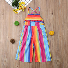 Load image into Gallery viewer, Summer Dress With Striped Baby Girls Romper Pants, Jumpsuit Outfit