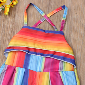 Summer Dress With Striped Baby Girls Romper Pants, Jumpsuit Outfit