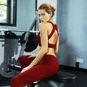Fitness 2 Piece Set Solid Crop Top And Long Leggings Athleisure Women