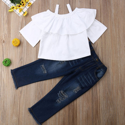 Cute Baby Girl Off Shoulder White Blouse Top & Jean 2PCS Set