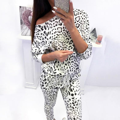 Women Tracksuit Leopard Lady, Long Sleeve Off Shoulder Suit 2 Piece Set