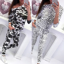 Load image into Gallery viewer, Women Tracksuit Leopard Lady, Long Sleeve Off Shoulder Suit 2 Piece Set
