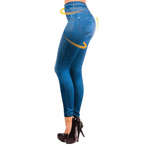 Women Fleece Lined Jegging Jeans Soft Slim Fashion Leggings 2 Real Pockets