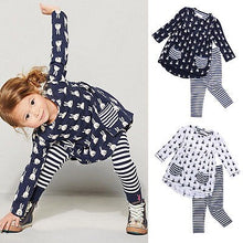 Load image into Gallery viewer, 2Pcs Baby Girls Bunny Blouse Dress+Leggings Pants Set Kids