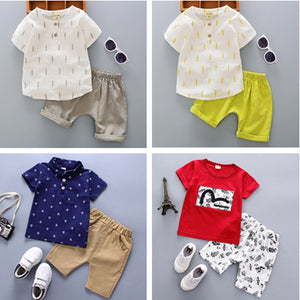 Kids Summer Cotton Sets T Shirt + Shorts For Baby Girl Age 0-4Y